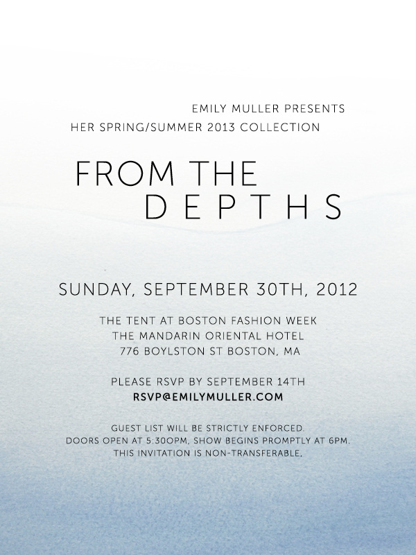 Emily Muller Spring Presentation Invite - From the Depths